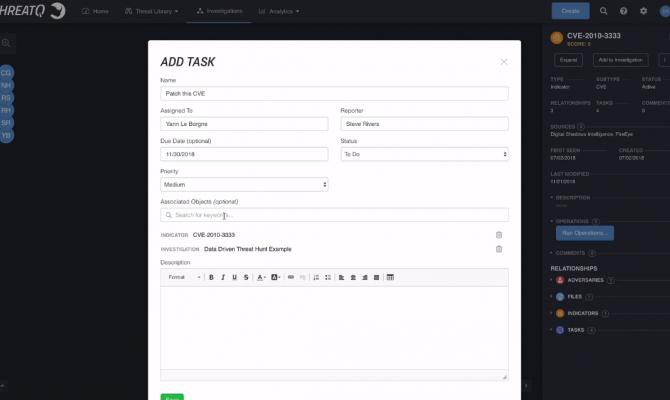 ThreatQuotient Threat Intelligence Platform. Процесс добавления задачи