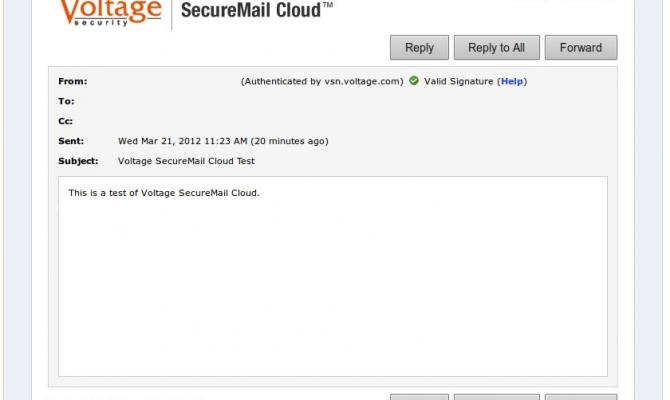 Интерфейс Voltage Securemail