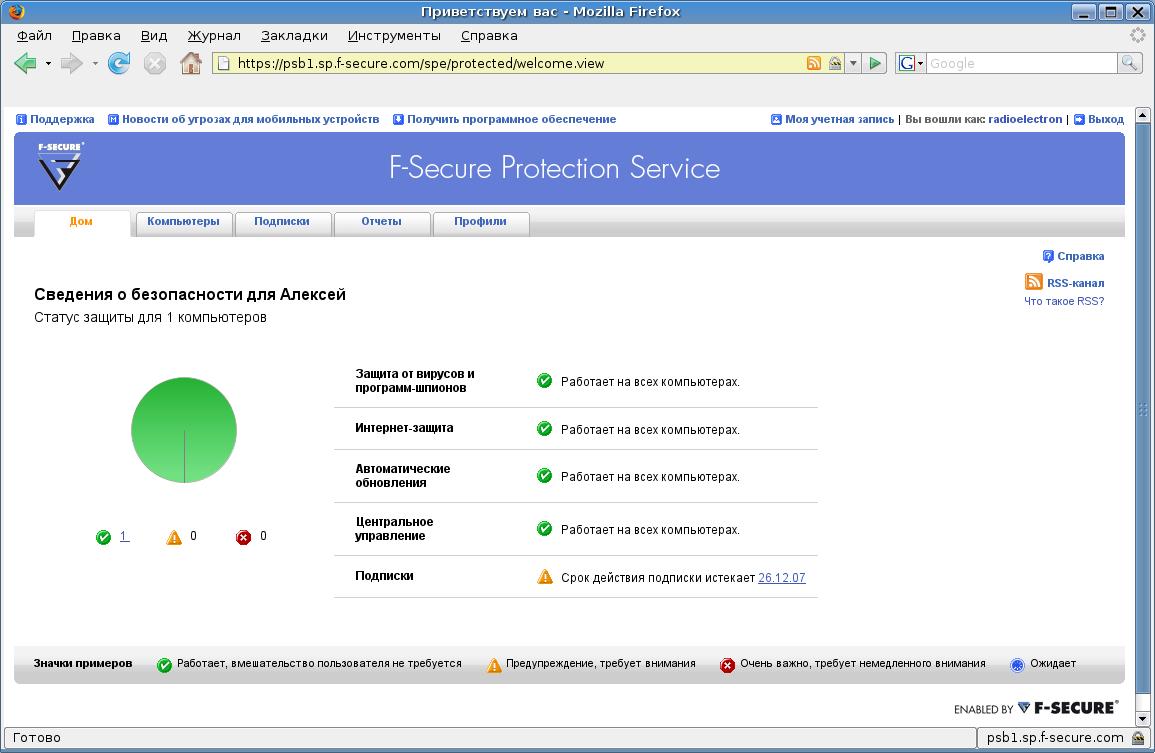 Просмотр сведений о настройках безопасности в сети