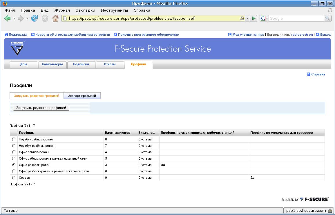 Просмотр профилей безопасности, возможность создания и редактирования профилей