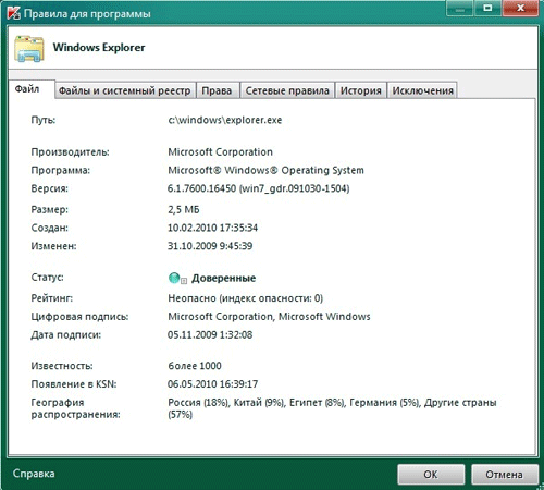 Правила для программы в Kaspersky Internet Security 2011